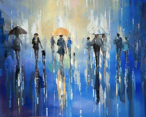 'Midsummer Night' Oil Painting on Canvas - Eva Czarniecka Umbrella Oil paintings Rain London Streets Pallets Knife Limited Edition Prints Impressionism Art Contemporary