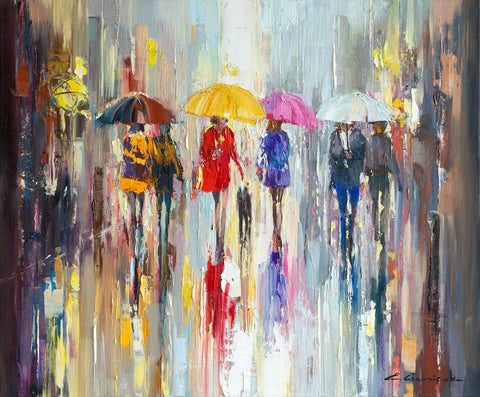 'City In Rain' Oil Painting on Canvas - Eva Czarniecka Umbrella Oil paintings Rain London Streets Pallets Knife Limited Edition Prints Impressionism Art Contemporary