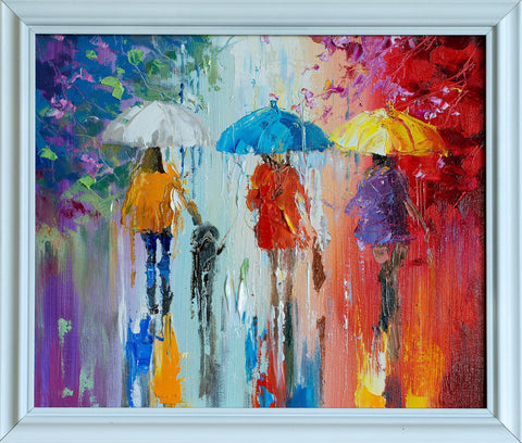 'Vibrations' Framed Oil Painting on Canvas - Eva Czarniecka Umbrella Oil paintings Rain London Streets Pallets Knife Limited Edition Prints Impressionism Art Contemporary