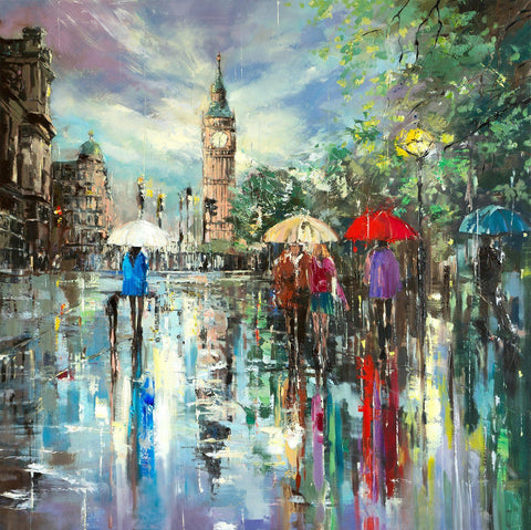 'London Central' Oil Painting on Canvas - Eva Czarniecka Umbrella Oil paintings Rain London Streets Pallets Knife Limited Edition Prints Impressionism Art Contemporary