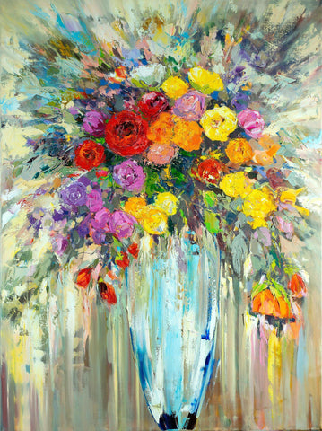 'Flowers in Blue Vase' Original Oil Painting on Canvas - Eva Czarniecka Umbrella Oil paintings Rain London Streets Pallets Knife Limited Edition Prints Impressionism Art Contemporary