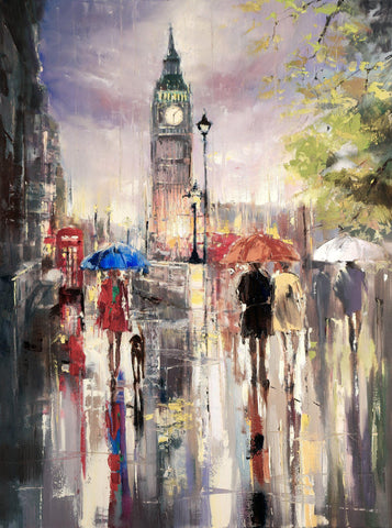 'Big Ben London Rain' Original Oil Painting on Canvas Ready to Hang - Eva Czarniecka Umbrella Oil paintings Rain London Streets Pallets Knife Limited Edition Prints Impressionism Art Contemporary
