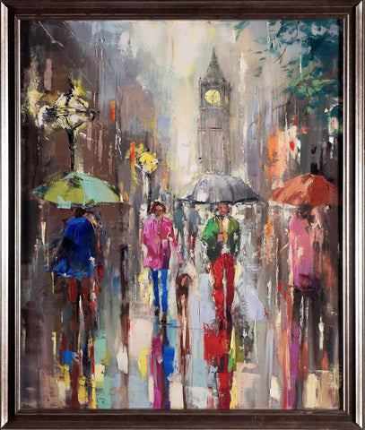 'City Rush Hour'  Painting on Canvas Framed Ready to Hang - Eva Czarniecka Umbrella Oil paintings Rain London Streets Pallets Knife Limited Edition Prints Impressionism Art Contemporary