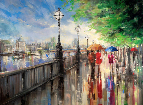 Commission/Reserved - Eva Czarniecka Umbrella Oil paintings Rain London Streets Pallets Knife Limited Edition Prints Impressionism Art Contemporary