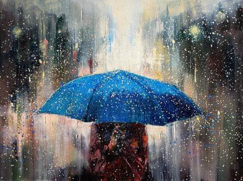 'Under Blue Umbrella I' Oil Painting on Canvas - Eva Czarniecka Umbrella Oil paintings Rain London Streets Pallets Knife Limited Edition Prints Impressionism Art Contemporary