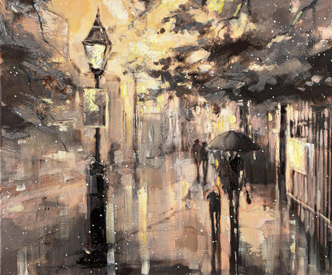 'Winter Night In Hyde Park' Oil Painting on Canvas - Eva Czarniecka Umbrella Oil paintings Rain London Streets Pallets Knife Limited Edition Prints Impressionism Art Contemporary