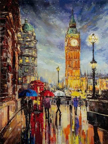 'London In Snow' Oil Painting on Canvas