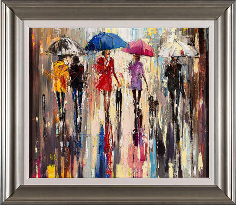 'The Colours In Rain' Framed Original Oil Painting on Canvas