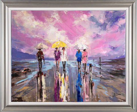 'The Sunset Rain' Framed Oil Painting