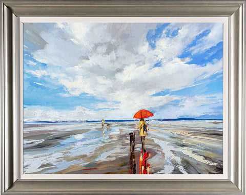 'My Red Umbrella' Framed Oil Painting