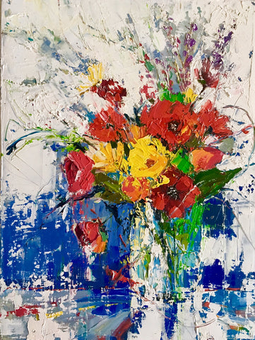 'Meadow Flowers'Oil Painting (Reserved) - Eva Czarniecka Art