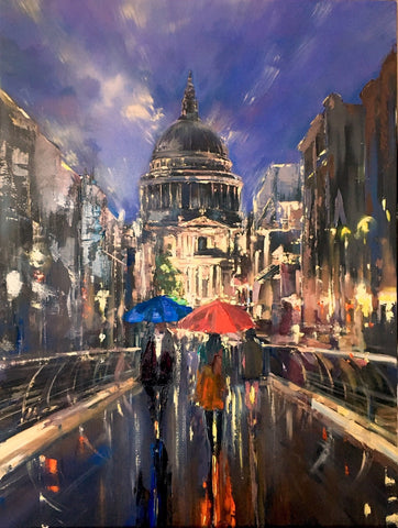 'Evening Stroll at St Paul's Cathedral' Painting on Canvas Ready to Hang - Eva Czarniecka Umbrella Oil paintings Rain London Streets Pallets Knife Limited Edition Prints Impressionism Art Contemporary