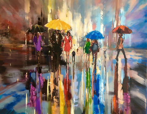 'Running through the Rain' Oil Painting on Canvas Ready to Hang - Eva Czarniecka Umbrella Oil paintings Rain London Streets Pallets Knife Limited Edition Prints Impressionism Art Contemporary
