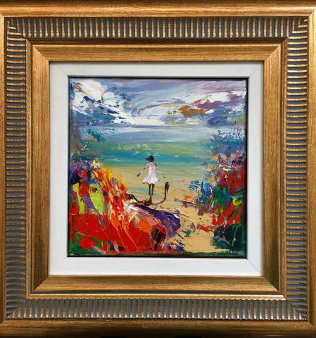 'Beach time with a Friend' Framed Oil Painting on Canvas RESERVED - Eva Czarniecka Umbrella Oil paintings Rain London Streets Pallets Knife Limited Edition Prints Impressionism Art Contemporary