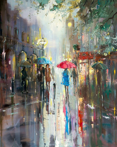 'LOST IN LONDON' Hand Embellished Limited Edition Print on Canvas - Eva Czarniecka Umbrella Oil paintings Rain London Streets Pallets Knife Limited Edition Prints Impressionism Art Contemporary