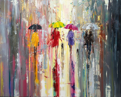'OUT IN THE RAIN'  Hand Embellished Limited Edition Print on Canvas - Eva Czarniecka Umbrella Oil paintings Rain London Streets Pallets Knife Limited Edition Prints Impressionism Art Contemporary