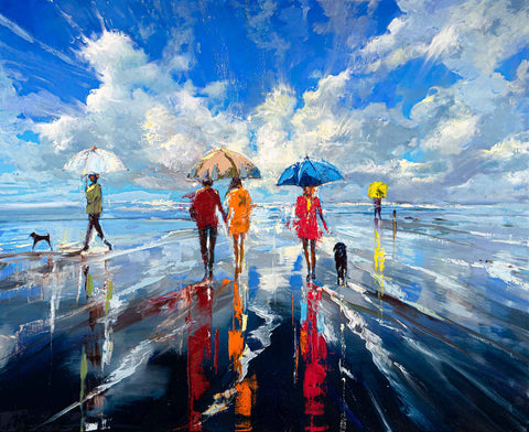 'Summer At The Sea' Limited Edition Hand Embellished Canvas Print