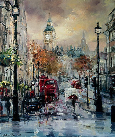 'STORMY LONDON' Hand Embellished Limited Edition Print on Canvas - Eva Czarniecka Umbrella Oil paintings Rain London Streets Pallets Knife Limited Edition Prints Impressionism Art Contemporary
