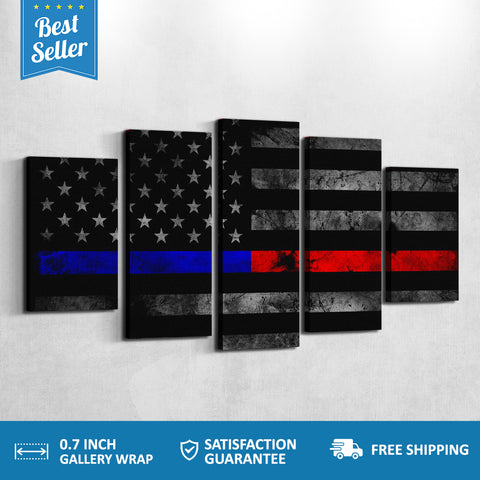 Red Line Blue Line USA Flag 5 PANEL CANVAS