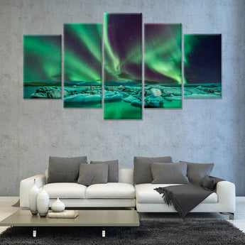Aurora lights flying over the Glacier Lagoon in iceland 5 PANEL CANVAS