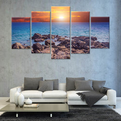 Beautiful sunset above the sea 5 PANEL CANVAS