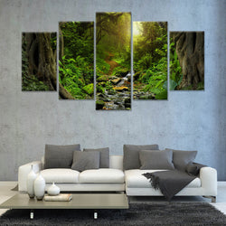 Deep tropical jungles with river 5 PANEL CANVAS