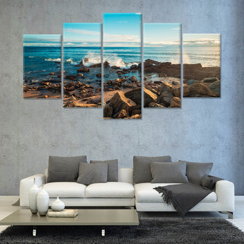 Dramatic sunset above the sea, South Australian shore 5 PANEL CANVAS