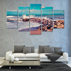 Summer sunny morning on the Meditheranian beach 5 PANEL CANVAS