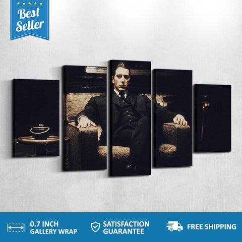 Michael Corleone The God Father 5 PANEL CANVAS