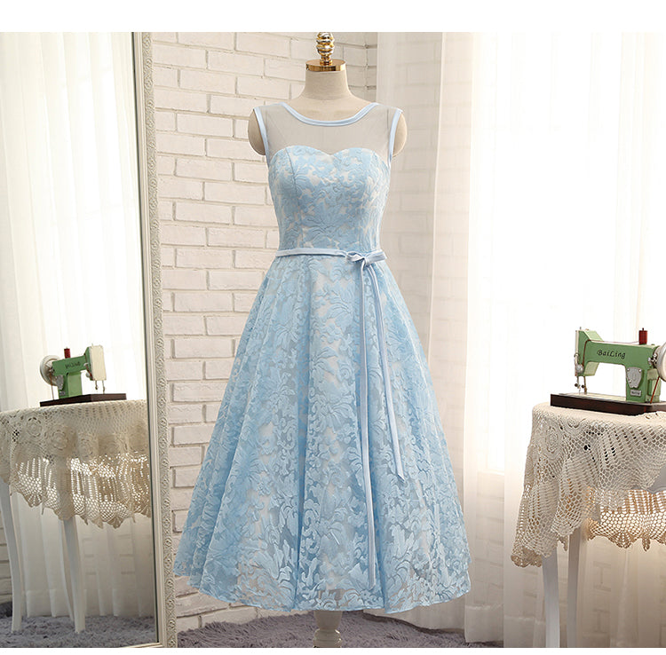 High Quality Blue A Line Lace Short Prom Dress,Sleeveless Homecoming Dresses OK470