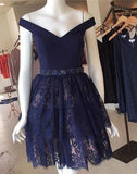 Navy Blue Lace Short Prom Dress For Teens,Graduation Party Dresses,Homecoming Dresses OK328