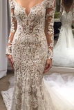 Romantic Long Lace Backless Long Sleeve Mermaid Ivory Wedding Dresses OK599