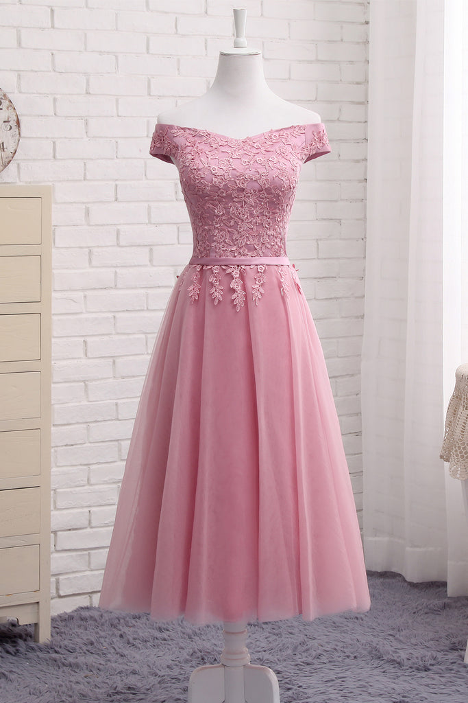Cute A Line Lace Off Shoulder Prom Dress,Lace Evening Dresses,Pink Junior Homecoming Dresses OK356