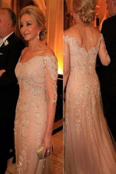 814b37d8f0f Elegant Lace Tulle Off-the-Shoulder 3 4 Length Sleeves Long Mother of The  Bride Dresses OK216
