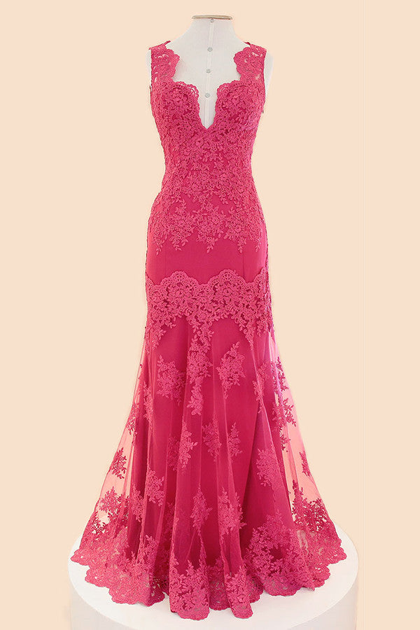 Deep V-neck Fuchsia Mermaid Long Lace Prom Dresses ED1032