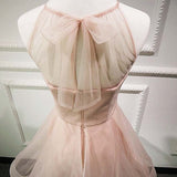 Stylish A line Tulle Short Junior Open Back Prom Dress,Cute Homecoming Dresses OK357