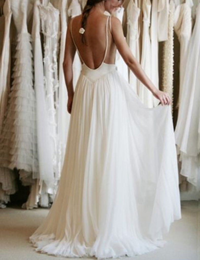 Simple White Lace Bridal Gown,A Line Chiffon Backless Cheap Wedding Dresses OK382