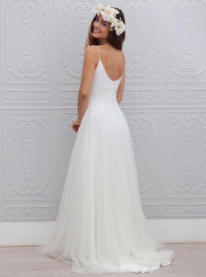 A-Line Spaghetti Straps Tulle V-neck Bakcless Sweep Train Beach/Coast Wedding Dress OK262