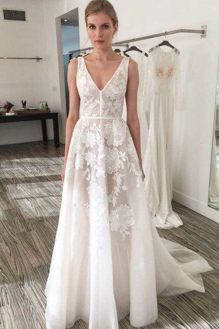 A-Line V-Neck Backless Sweep Train Ivory Wedding Dress with Appliques OKR20