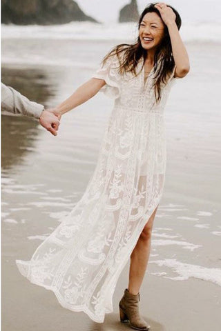 A-Line V-Neck Short Sleeves Bohemian Lace Beach Wedding Dress with Split OKR37