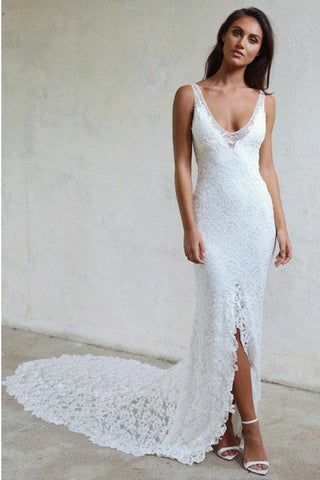 Mermaid V-Neck Backless Court Train Lace Wedding Dress with Split OKR38