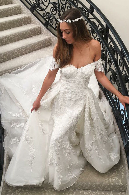 A-Line Off-the-Shoulder Sweep Train Off White Wedding Dress with Appliques OKR14