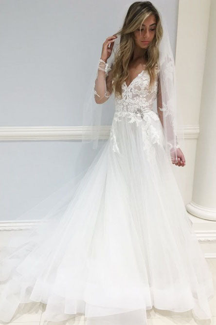 A-Line V-Neck Long Sleeves Sweep Train Elegant Wedding Dress with Lace Appliques OKR15