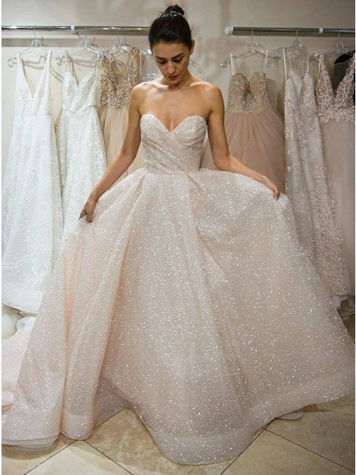 A-Line Sweetheart Ivory Lace Sparklely Wedding Dress with Sequins OKR16