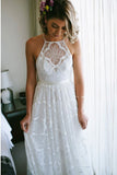 Charming A-Line Halter Backless Sweep Train White Lace Wedding Dress OKR40
