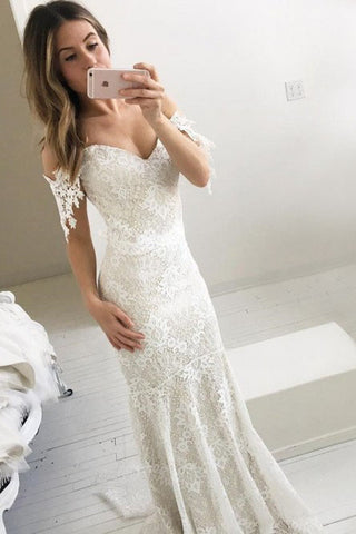 Mermaid Off-the-Shoulder Backless Sweep Train Ivory Lace Wedding Dress OKR33