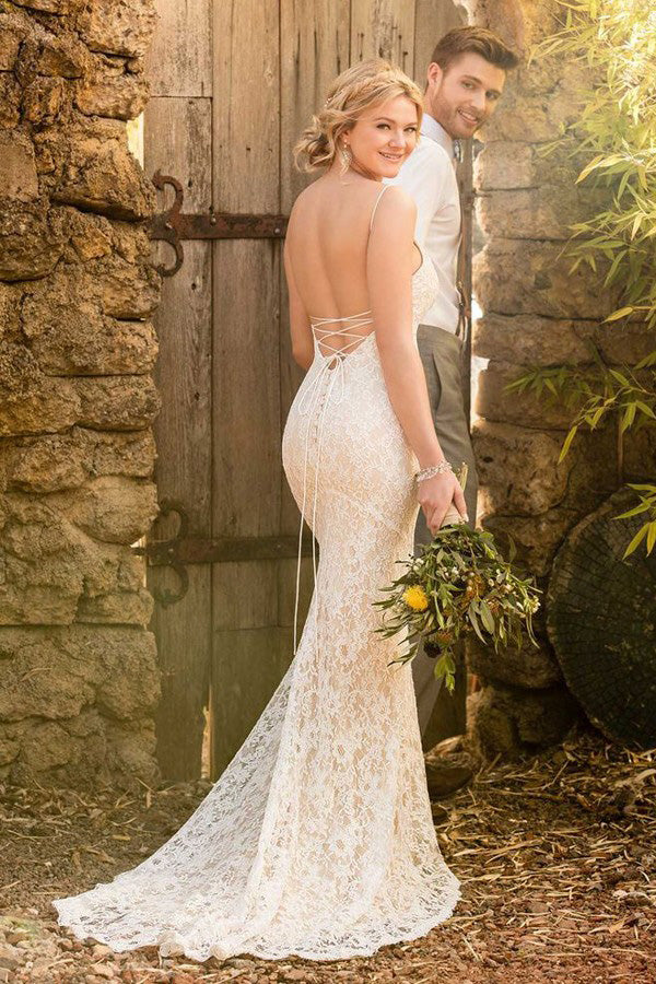 Mermaid Spaghetti Straps Backless Ivory Lace Wedding Dress OKL61