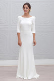 Simple Sheath Bateau Backless 3/4 Sleeves Sweep Train Beach Wedding Dress OKS35