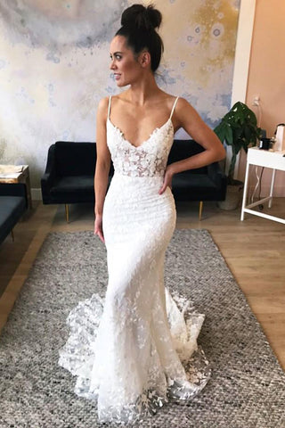 Mermaid Spaghetti Straps Lace Wedding Dress with Appliques OKL57