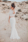 Two Piece Crew Short Sleeves White Lace Mermaid Wedding Dress OKL54